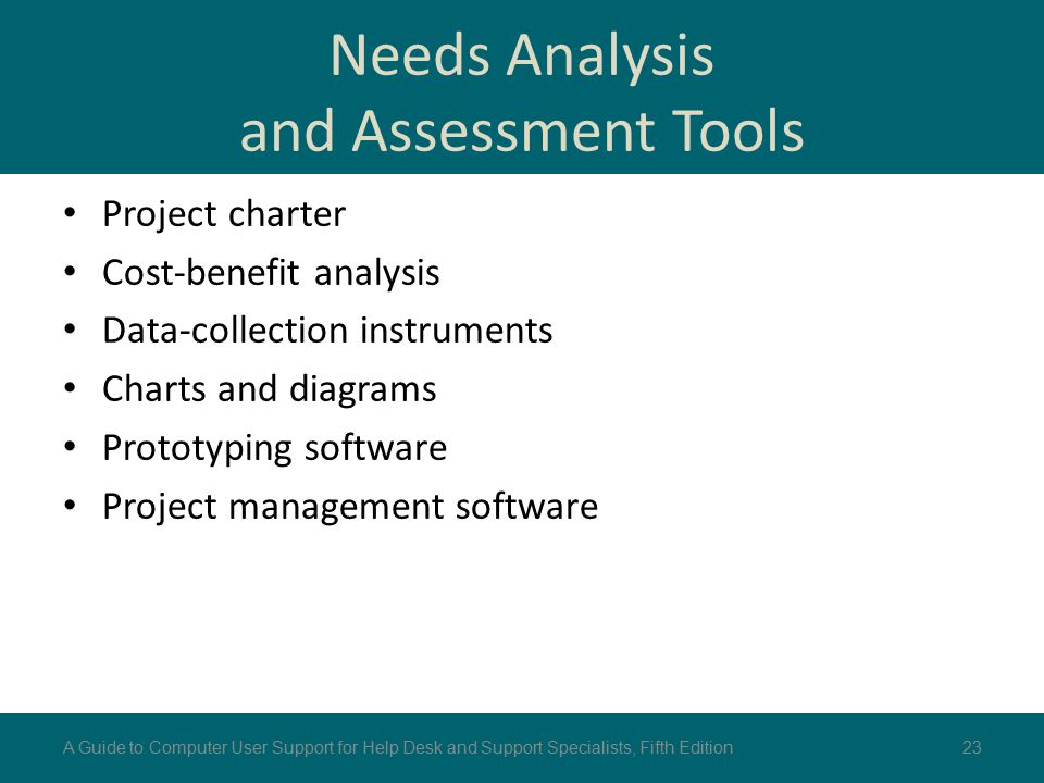 Needs Analysis and Assessment Tools Project charter Cost-benefit analysis Data-collection instruments Charts and diagrams Prototyping software Project