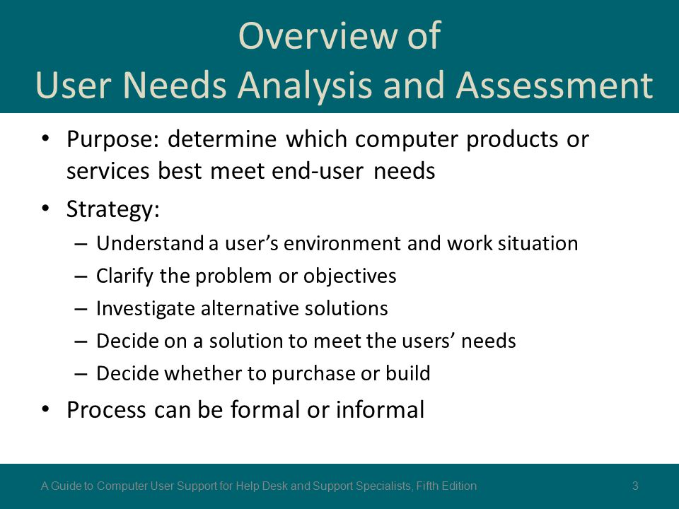 Overview of User Needs Analysis and Assessment Purpose: determine which computer products or services best meet end-user needs Strategy: – Understand