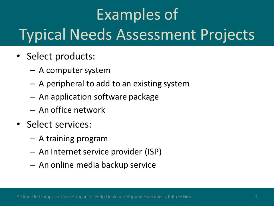 Examples of Typical Needs Assessment Projects Select products: – A computer system – A peripheral to add to an existing system – An application softwa