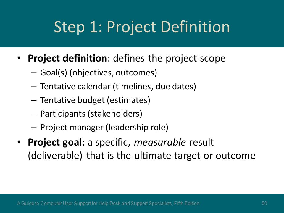 Step 1: Project Definition Project definition: defines the project scope – Goal(s) (objectives, outcomes) – Tentative calendar (timelines, due dates)