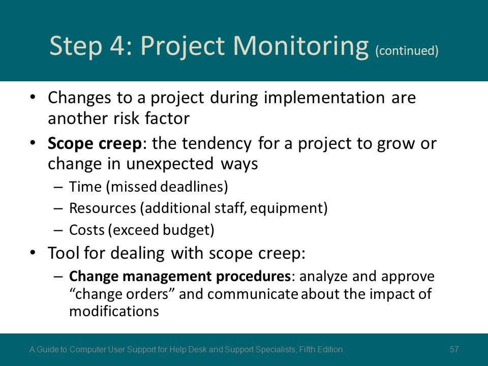 Step 4: Project Monitoring (continued) Changes to a project during implementation are another risk factor Scope creep: the tendency for a project to g