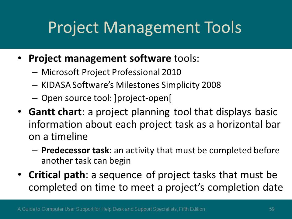 Project Management Tools Project management software tools: – Microsoft Project Professional 2010 – KIDASA Software's Milestones Simplicity 2008 – Ope