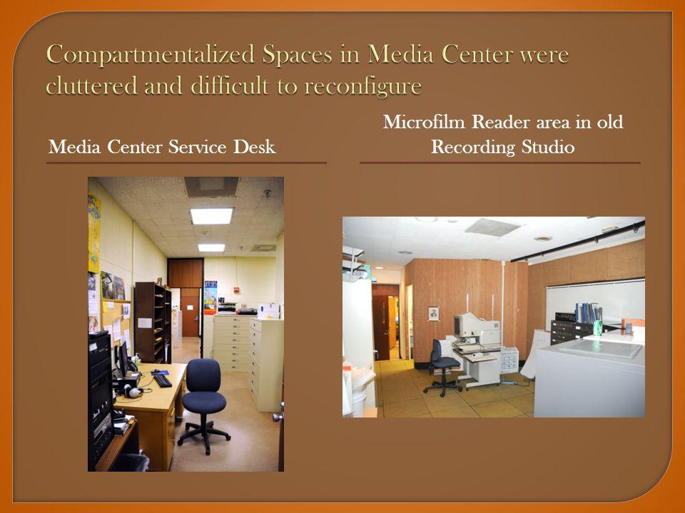 Media Center Service Desk Microfilm Reader area in old Recording Studio