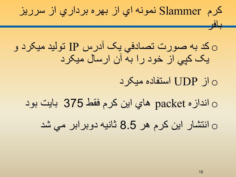کرم Slammer نمونه اي از بهره برداري از سرريز بافر o کد به صورت تصادفي يک آدرس IP توليد ميکرد و يک کپي از خود را به آن ارسال ميکرد o از UDP استفاده ميکرد o اندازه packet هاي اين کرم فقط 375 بايت بود o انتشار اين کرم هر 8.5 ثانيه دوبرابر مي شد 18