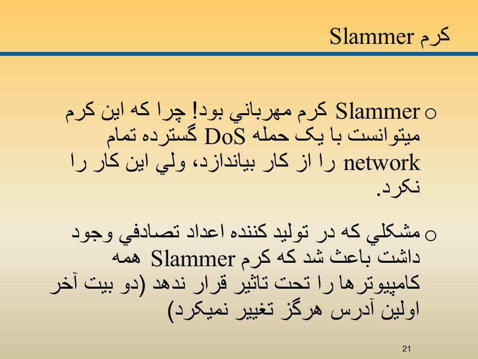 کرم Slammer o Slammer کرم مهرباني بود .