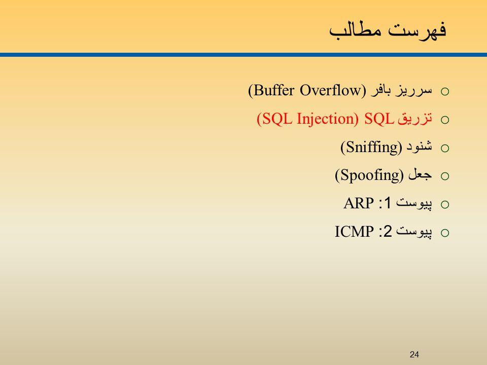 فهرست مطالب o سرريز بافر (Buffer Overflow) o تزريق SQL (SQL Injection) o شنود (Sniffing) o جعل (Spoofing) o پيوست 1: ARP o پيوست 2: ICMP 24