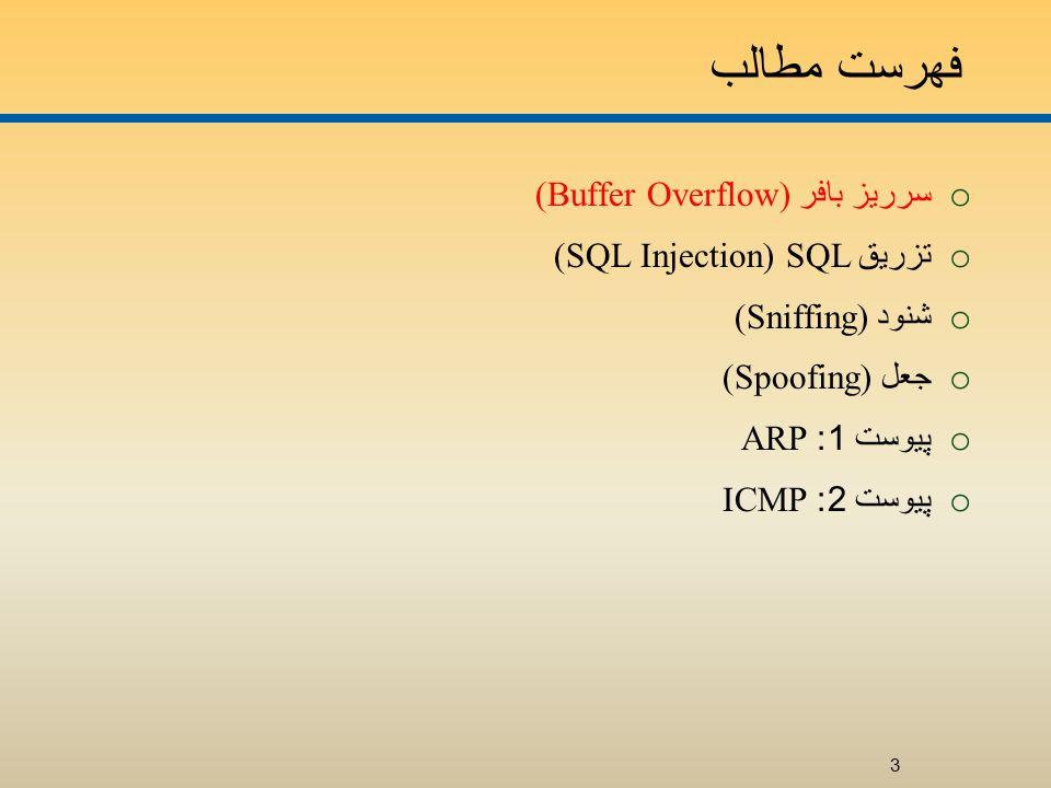فهرست مطالب o سرريز بافر (Buffer Overflow) o تزريق SQL (SQL Injection) o شنود (Sniffing) o جعل (Spoofing) o پيوست 1: ARP o پيوست 2: ICMP 3