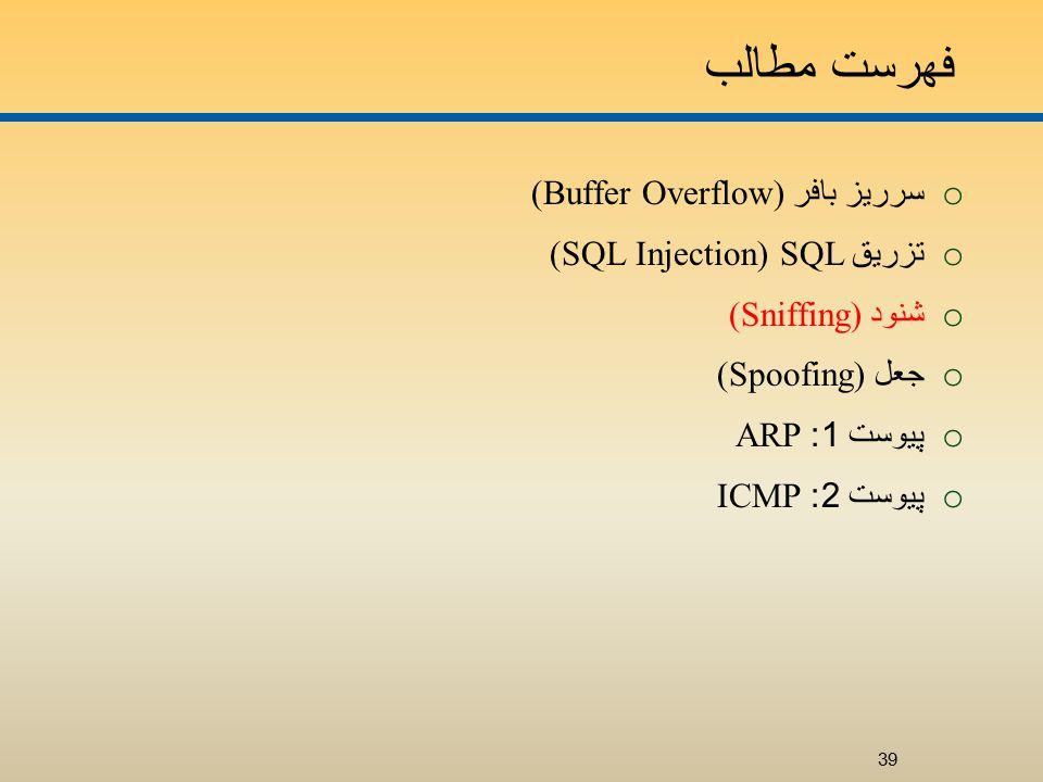 فهرست مطالب o سرريز بافر (Buffer Overflow) o تزريق SQL (SQL Injection) o شنود (Sniffing) o جعل (Spoofing) o پيوست 1: ARP o پيوست 2: ICMP 39