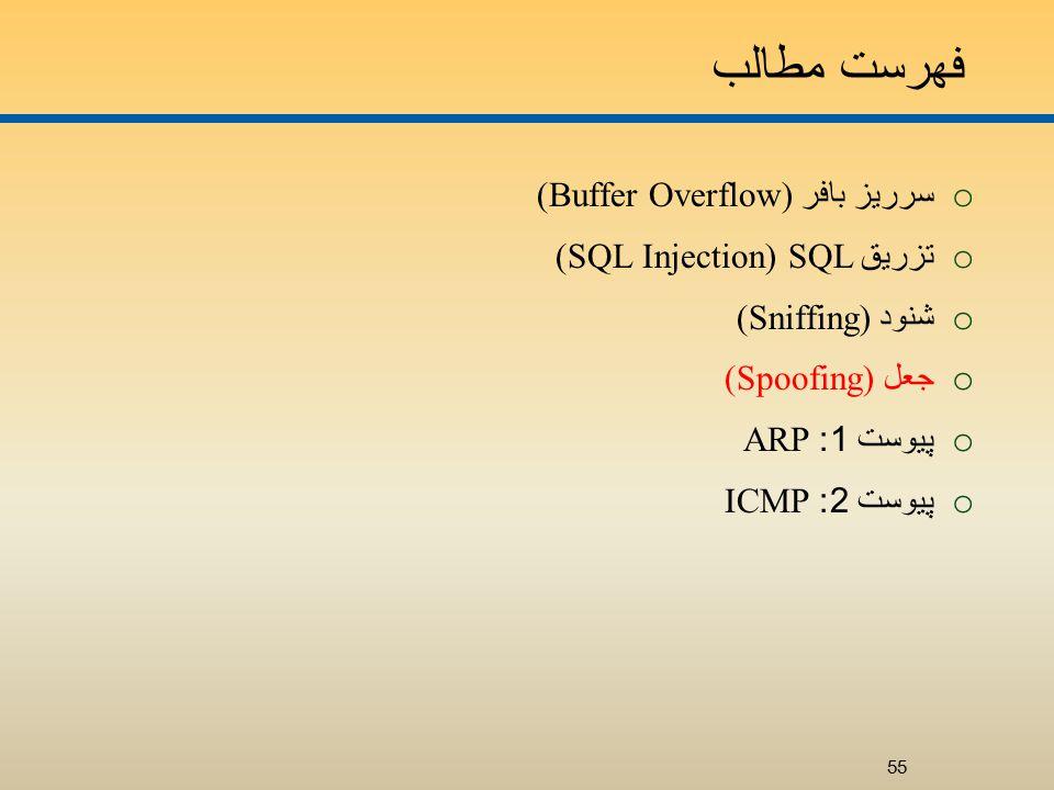 فهرست مطالب o سرريز بافر (Buffer Overflow) o تزريق SQL (SQL Injection) o شنود (Sniffing) o جعل (Spoofing) o پيوست 1: ARP o پيوست 2: ICMP 55