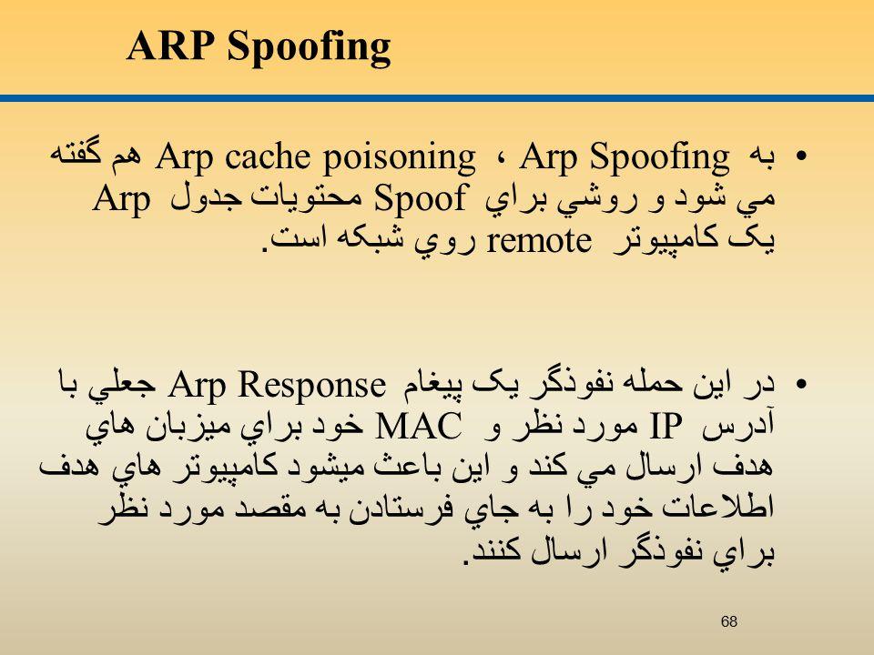 ARP Spoofing به Arp Spoofing ، Arp cache poisoning هم گفته مي شود و روشي براي Spoof محتويات جدول Arp يک کامپيوتر remote روي شبکه است.