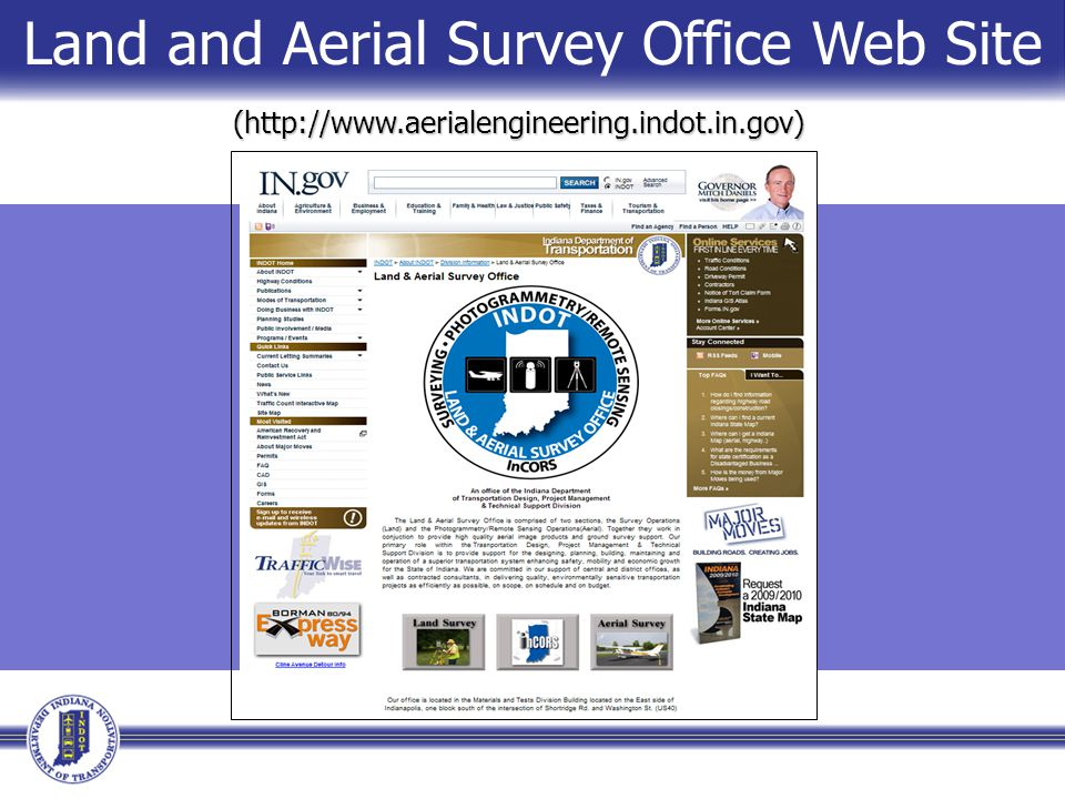 (http://www.aerialengineering.indot.in.gov) Land and Aerial Survey Office Web Site