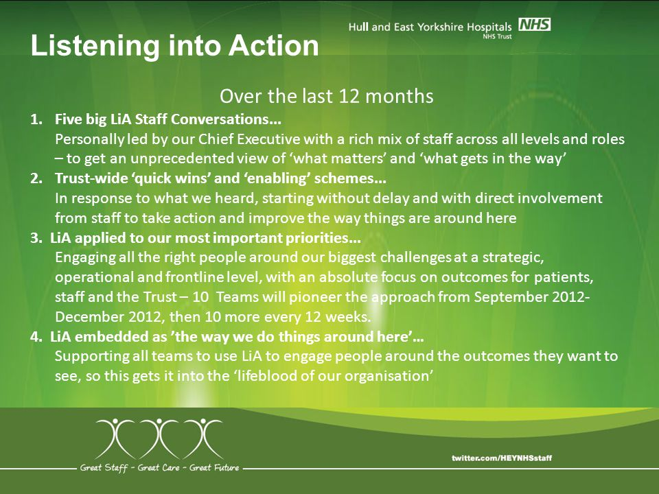 Listening into Action Over the last 12 months 1.Five big LiA Staff Conversations... Personally led by our Chief Executive with a rich mix of staff acr