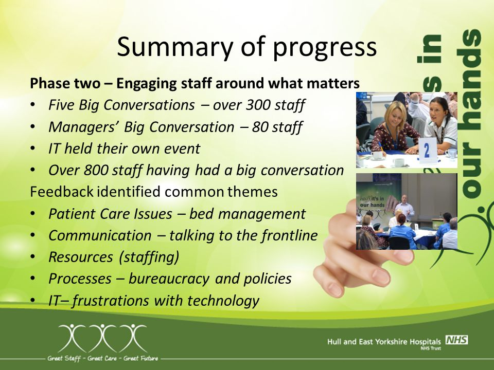 Summary of progress Phase two – Engaging staff around what matters Five Big Conversations – over 300 staff Managers' Big Conversation – 80 staff IT he