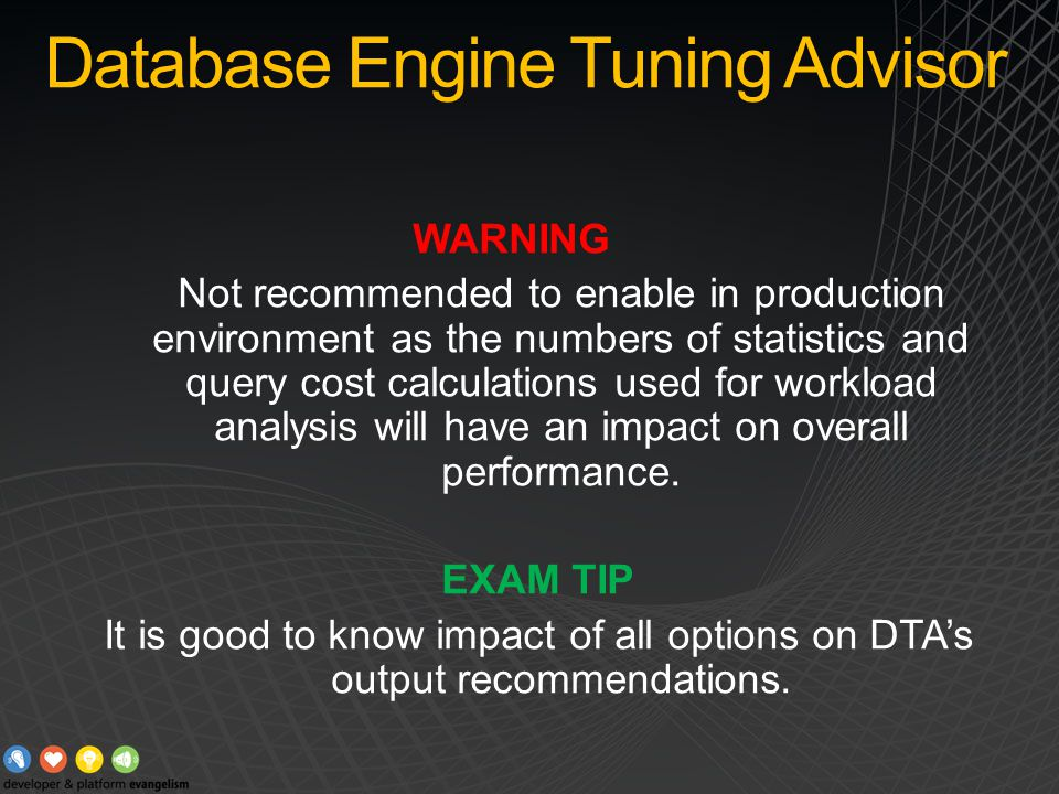 DTA Demo Launching DTA Creation of workload Database schema manipulations Reports