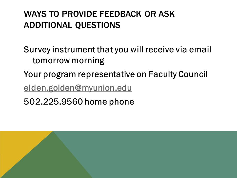 Survey instrument that you will receive via email tomorrow morning Your program representative on Faculty Council elden.golden@myunion.edu 502.225.9560 home phone WAYS TO PROVIDE FEEDBACK OR ASK ADDITIONAL QUESTIONS