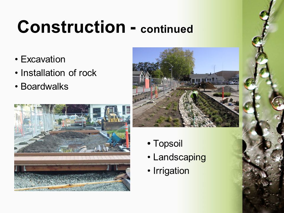 Construction - continued Excavation Installation of rock Boardwalks Topsoil Landscaping Irrigation