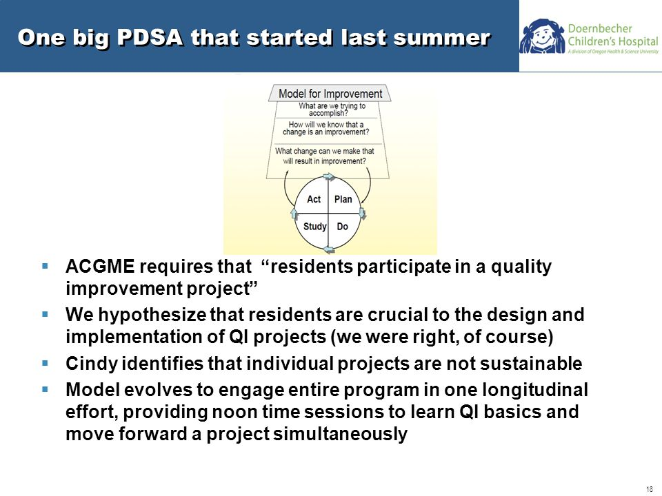 18 One big PDSA that started last summer  ACGME requires that residents participate in a quality improvement project  We hypothesize that residents are crucial to the design and implementation of QI projects (we were right, of course)  Cindy identifies that individual projects are not sustainable  Model evolves to engage entire program in one longitudinal effort, providing noon time sessions to learn QI basics and move forward a project simultaneously