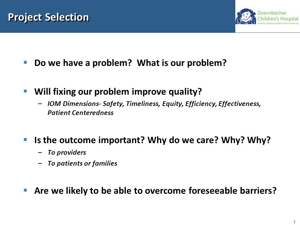 5 Project Selection  Do we have a problem. What is our problem.