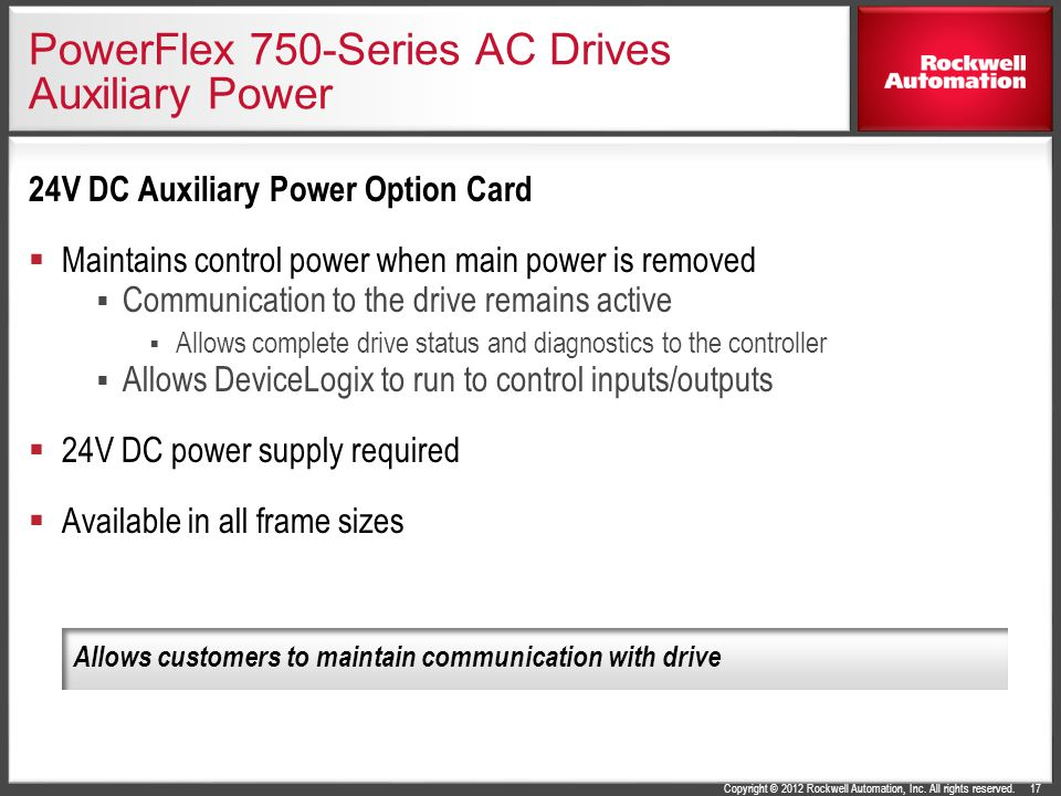 Copyright © 2012 Rockwell Automation, Inc. All rights reserved. PowerFlex 750-Series AC Drives Auxiliary Power 24V DC Auxiliary Power Option Card  Ma