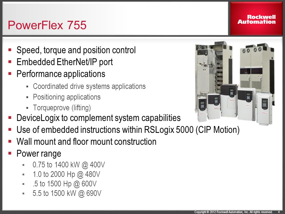 Copyright © 2012 Rockwell Automation, Inc. All rights reserved. PowerFlex 755  Speed, torque and position control  Embedded EtherNet/IP port  Perfo
