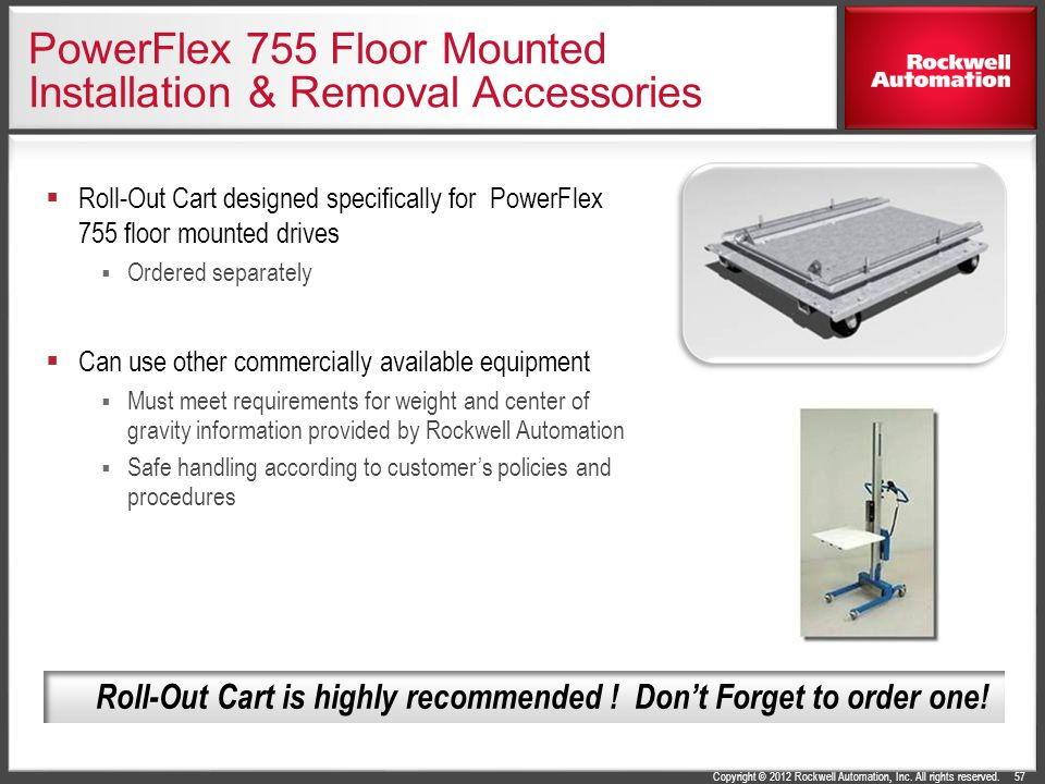 Copyright © 2012 Rockwell Automation, Inc. All rights reserved. PowerFlex 755 Floor Mounted Installation & Removal Accessories  Roll-Out Cart designe