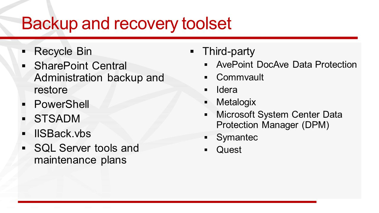 Backup and recovery toolset