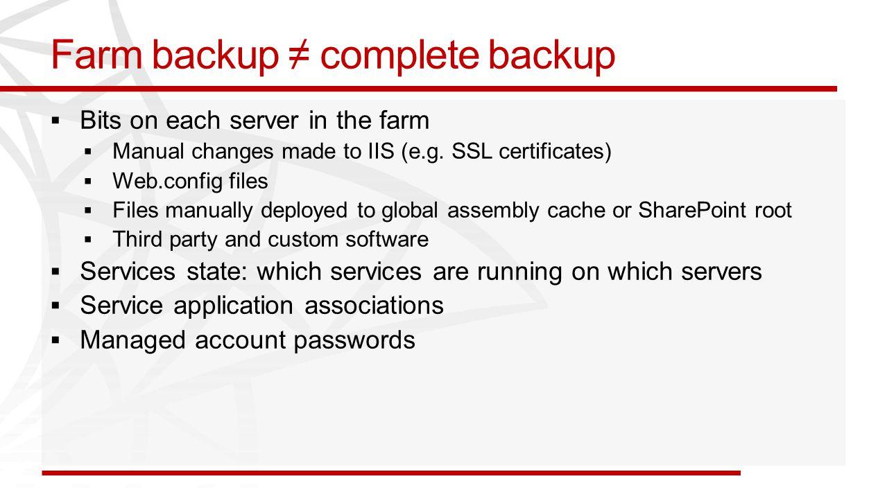 Farm backup ≠ complete backup