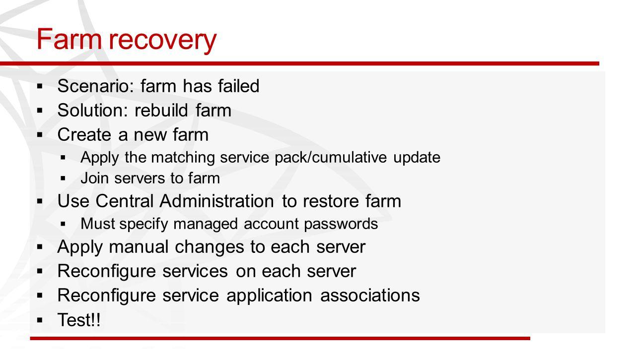 Farm recovery