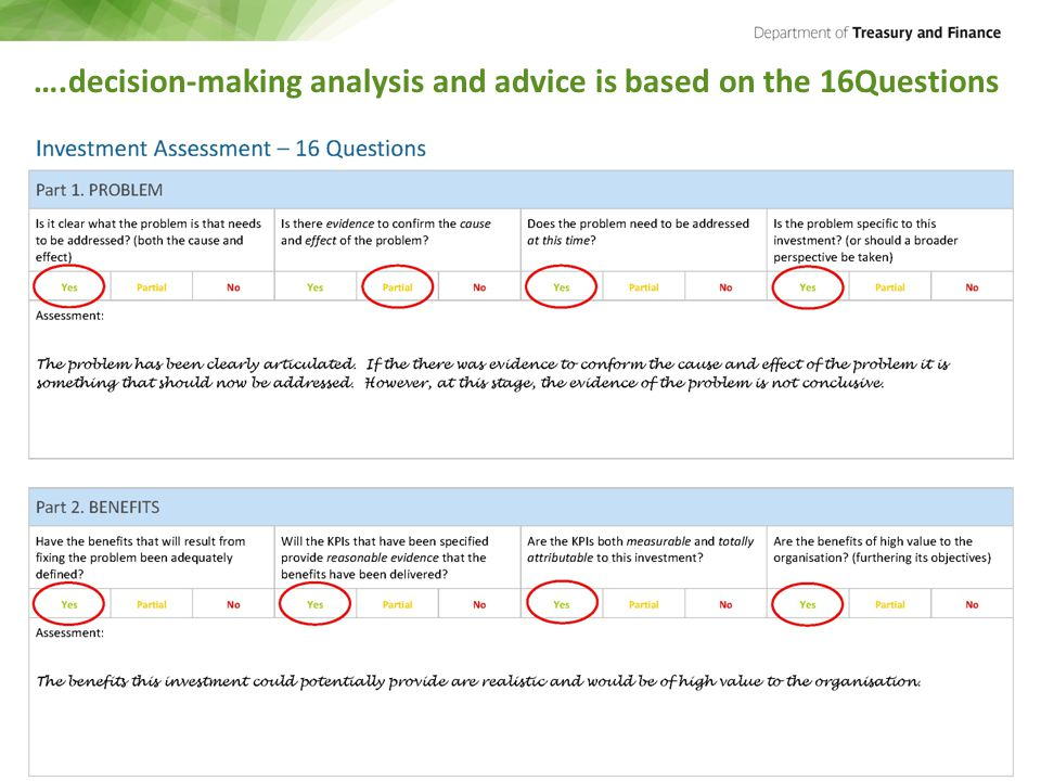 ….decision-making analysis and advice is based on the 16Questions