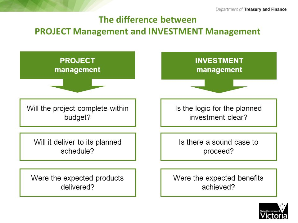 The difference between PROJECT Management and INVESTMENT Management INVESTMENT management Is the logic for the planned investment clear.