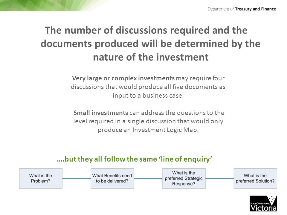The number of discussions required and the documents produced will be determined by the nature of the investment Very large or complex investments may