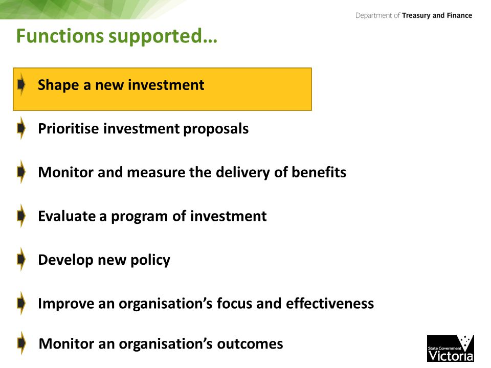 Functions supported… Shape a new investment Prioritise investment proposals Monitor and measure the delivery of benefits Evaluate a program of investment Develop new policy Improve an organisation's focus and effectiveness Monitor an organisation's outcomes