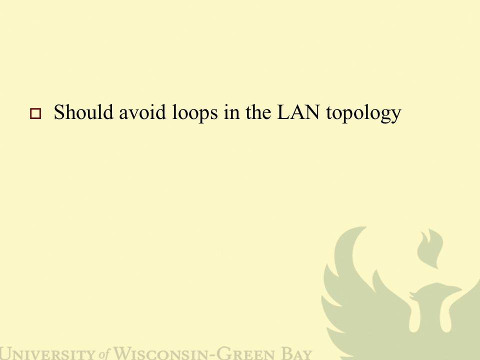  Should avoid loops in the LAN topology
