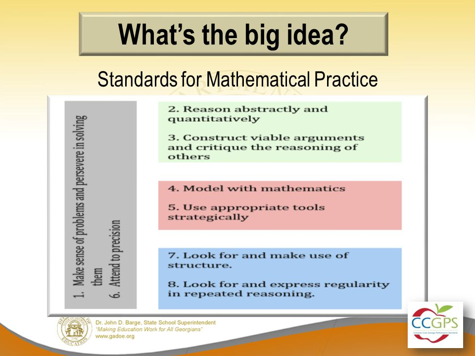 What's the big idea Standards for Mathematical Practice