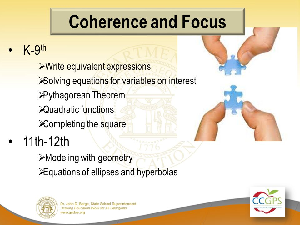 Coherence and Focus K-9 th  Write equivalent expressions  Solving equations for variables on interest  Pythagorean Theorem  Quadratic functions  Completing the square 11th-12th  Modeling with geometry  Equations of ellipses and hyperbolas