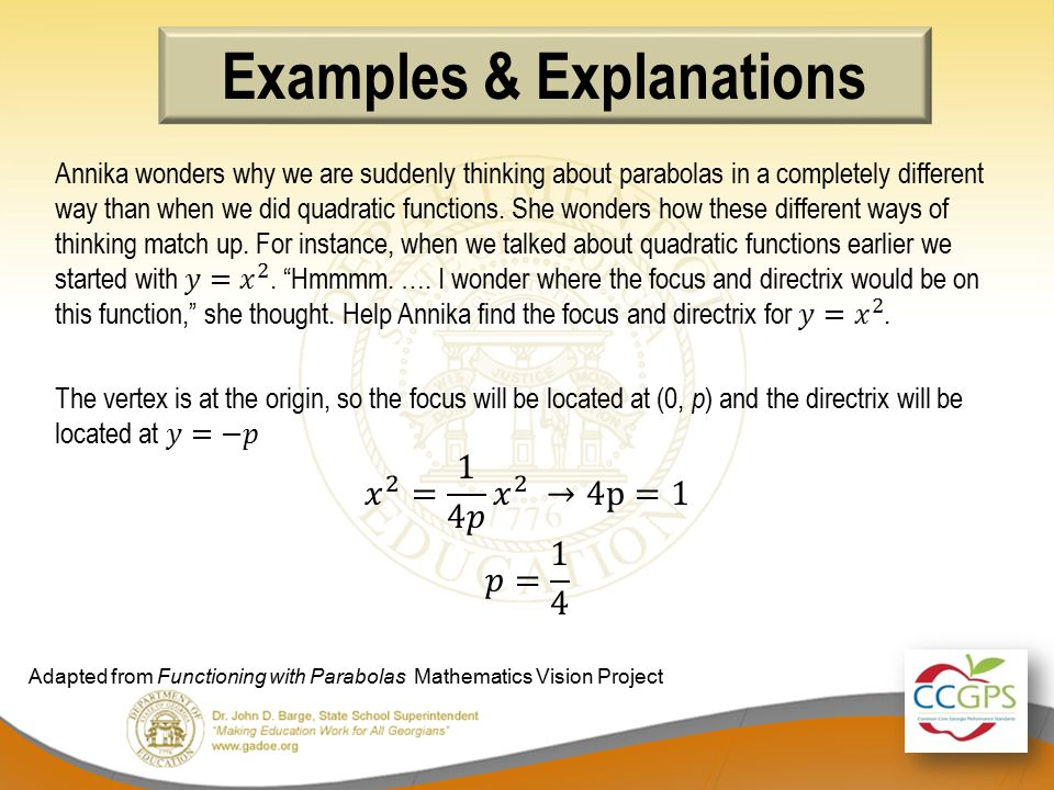 Examples & Explanations Adapted from Functioning with Parabolas Mathematics Vision Project