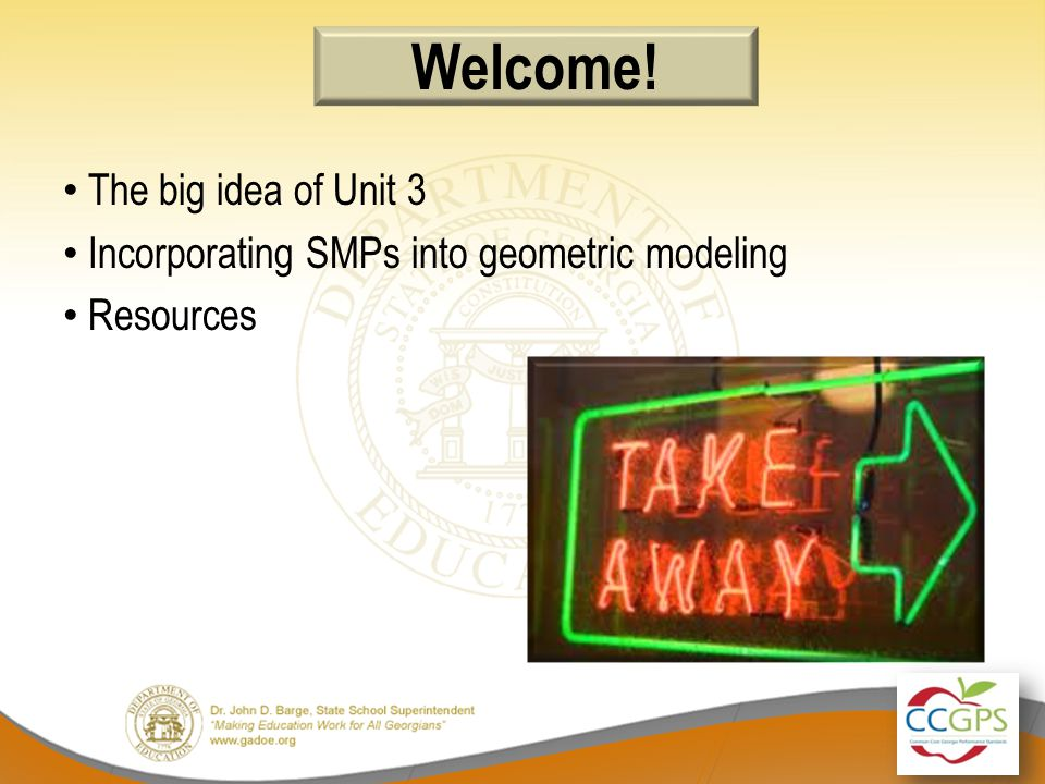 The big idea of Unit 3 Incorporating SMPs into geometric modeling Resources Welcome!