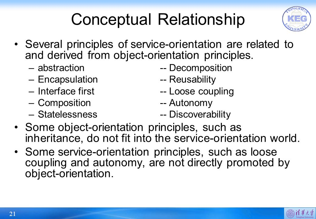 21 Conceptual Relationship Several principles of service-orientation are related to and derived from object-orientation principles.
