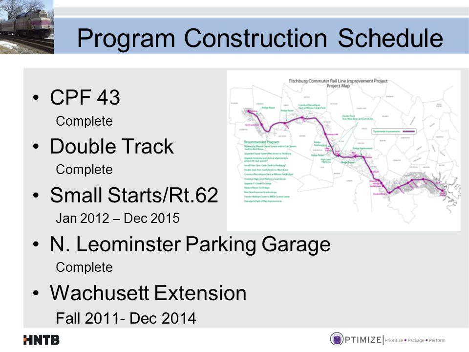 Program Construction Schedule CPF 43 Complete Double Track Complete Small Starts/Rt.62 Jan 2012 – Dec 2015 N.