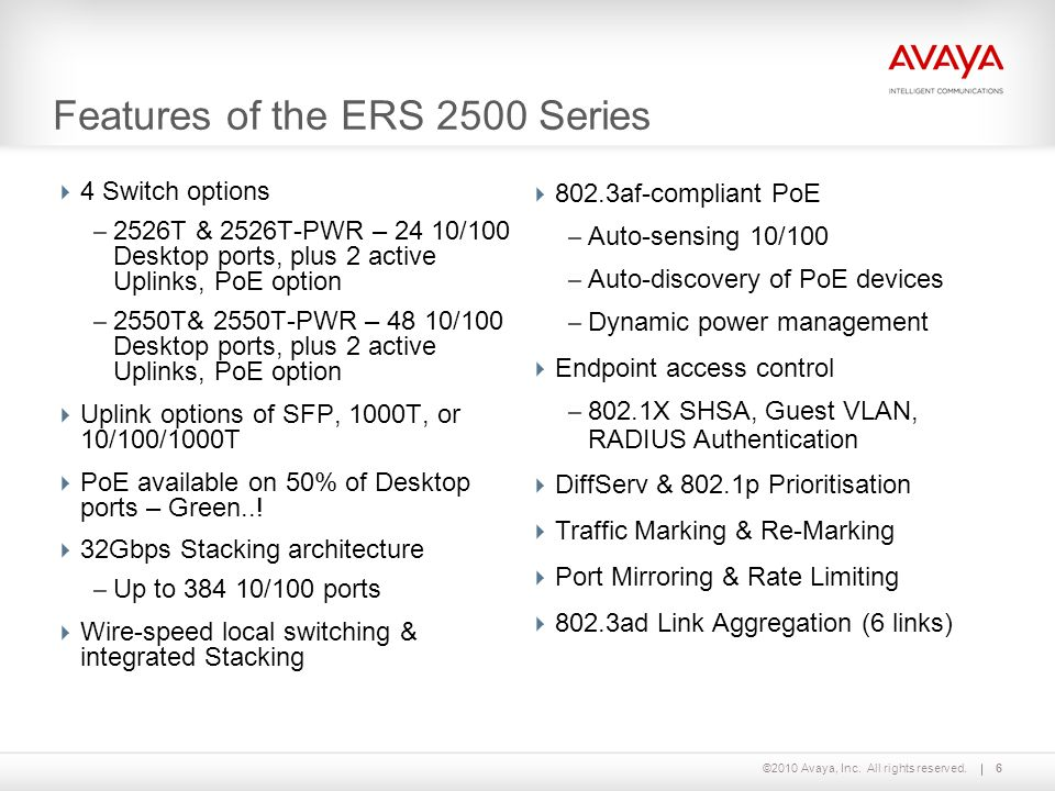 ©2010 Avaya, Inc. All rights reserved.6 Features of the ERS 2500 Series  4 Switch options – 2526T & 2526T-PWR – 24 10/100 Desktop ports, plus 2 activ