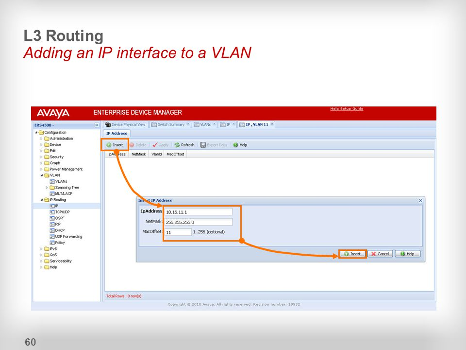 L3 Routing Adding an IP interface to a VLAN 60