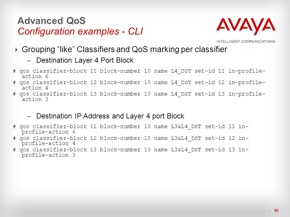 "86 Advanced QoS Configuration examples - CLI  Grouping ""like"" Classifiers and QoS marking per classifier – Destination Layer 4 Port Block # qos class"