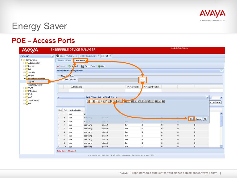 Avaya – Proprietary. Use pursuant to your signed agreement or Avaya policy. Energy Saver POE – Access Ports