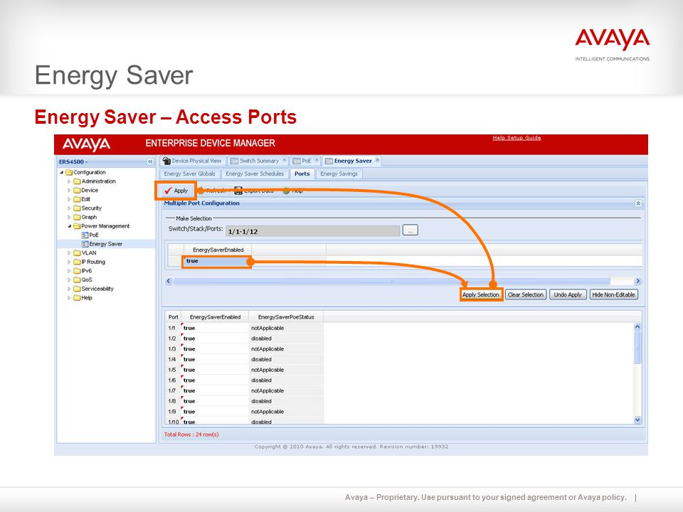 Avaya – Proprietary. Use pursuant to your signed agreement or Avaya policy. Energy Saver Energy Saver – Access Ports