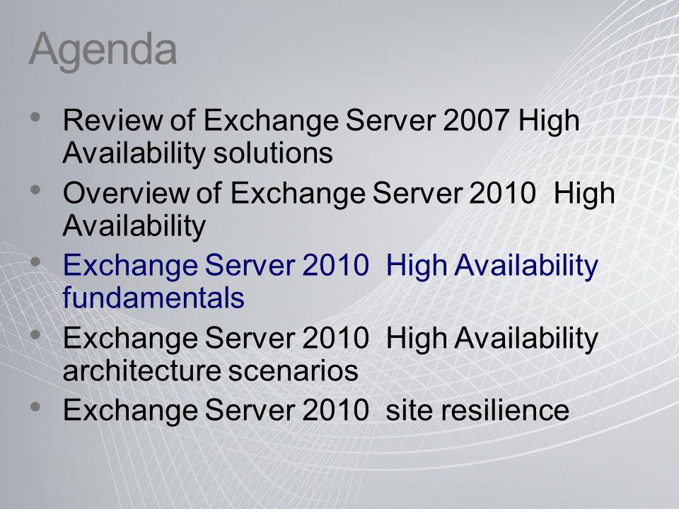 Agenda Review of Exchange Server 2007 High Availability solutions Overview of Exchange Server 2010 High Availability Exchange Server 2010 High Availab