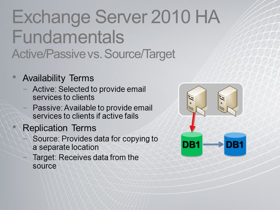 Exchange Server 2010 HA Fundamentals Active/Passive vs. Source/Target Availability Terms −Active: Selected to provide email services to clients −Passi