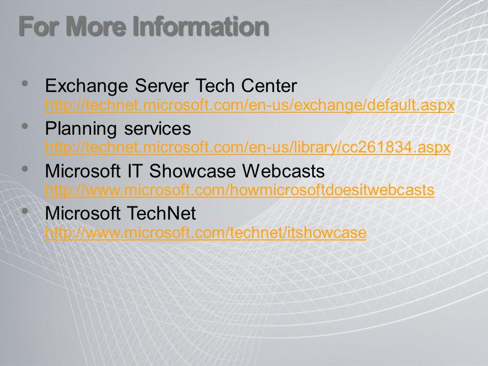 For More Information Exchange Server Tech Center http://technet.microsoft.com/en-us/exchange/default.aspx http://technet.microsoft.com/en-us/exchange/