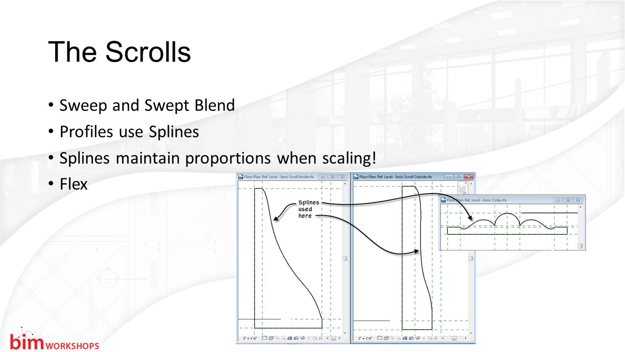 The Scrolls Sweep and Swept Blend Profiles use Splines Splines maintain proportions when scaling.