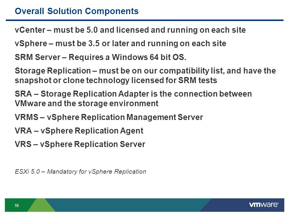 18 Overall Solution Components vCenter – must be 5.0 and licensed and running on each site vSphere – must be 3.5 or later and running on each site SRM Server – Requires a Windows 64 bit OS.