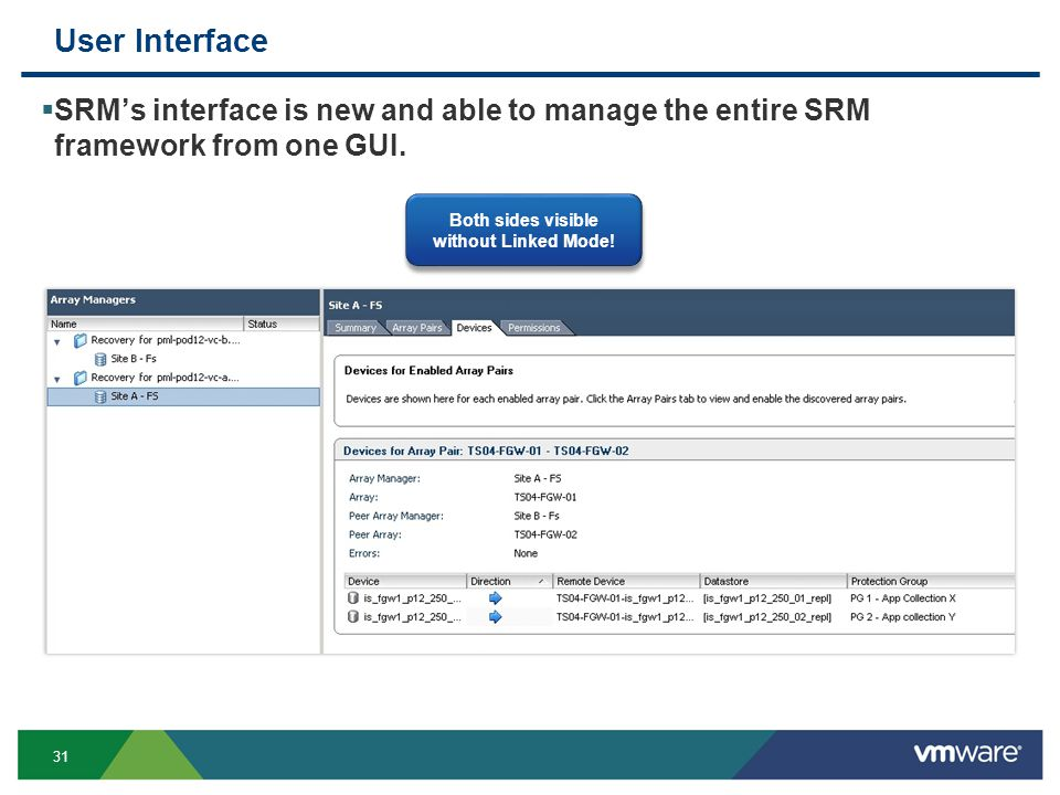 31 User Interface  SRM's interface is new and able to manage the entire SRM framework from one GUI.